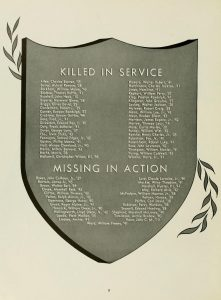 A list of alumni and students killed or missing in action, from the 1944 UNC-Chapel Hill Yackety Yack yearbook, page 12.