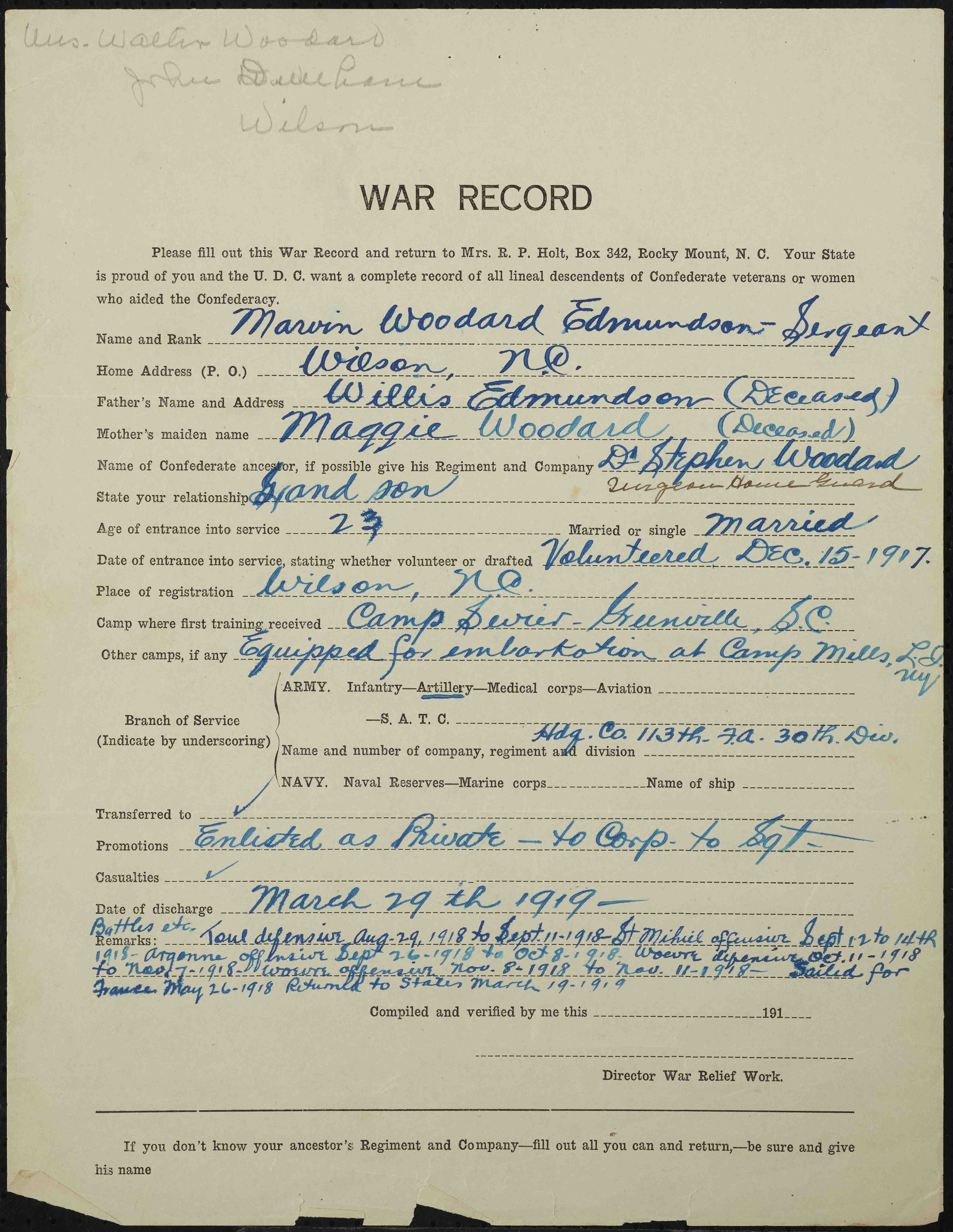 The United Daughters of the Confederacy World War Records of Lineal Descendants of Confederate Veterans, Record 1