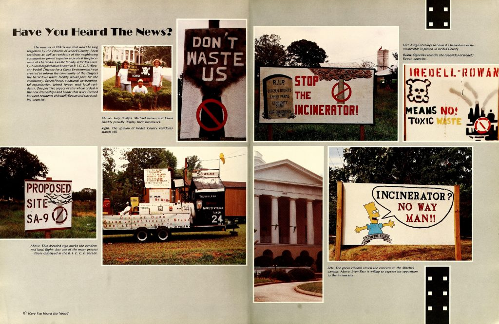 Color two page spread with multiple photos of signs protests related to environmental impact