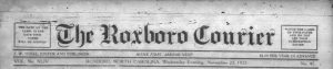 The Roxboro Courier from our newest partner, the Person County Public Library