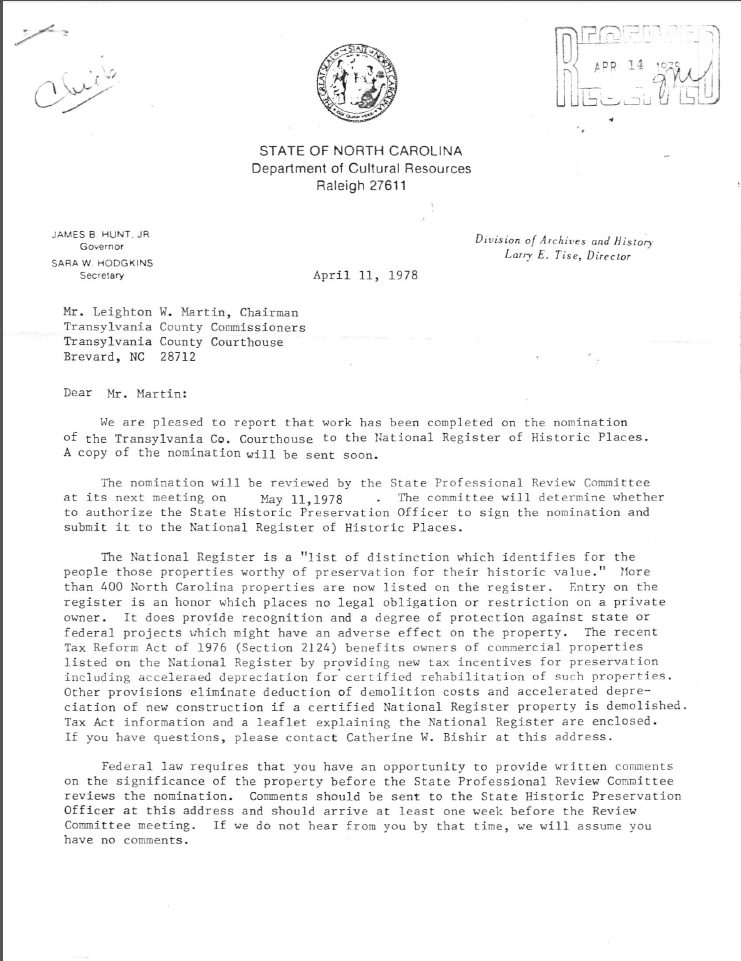 Transylvania County Courthouse, Letter from the NC Department of Cultural Resources