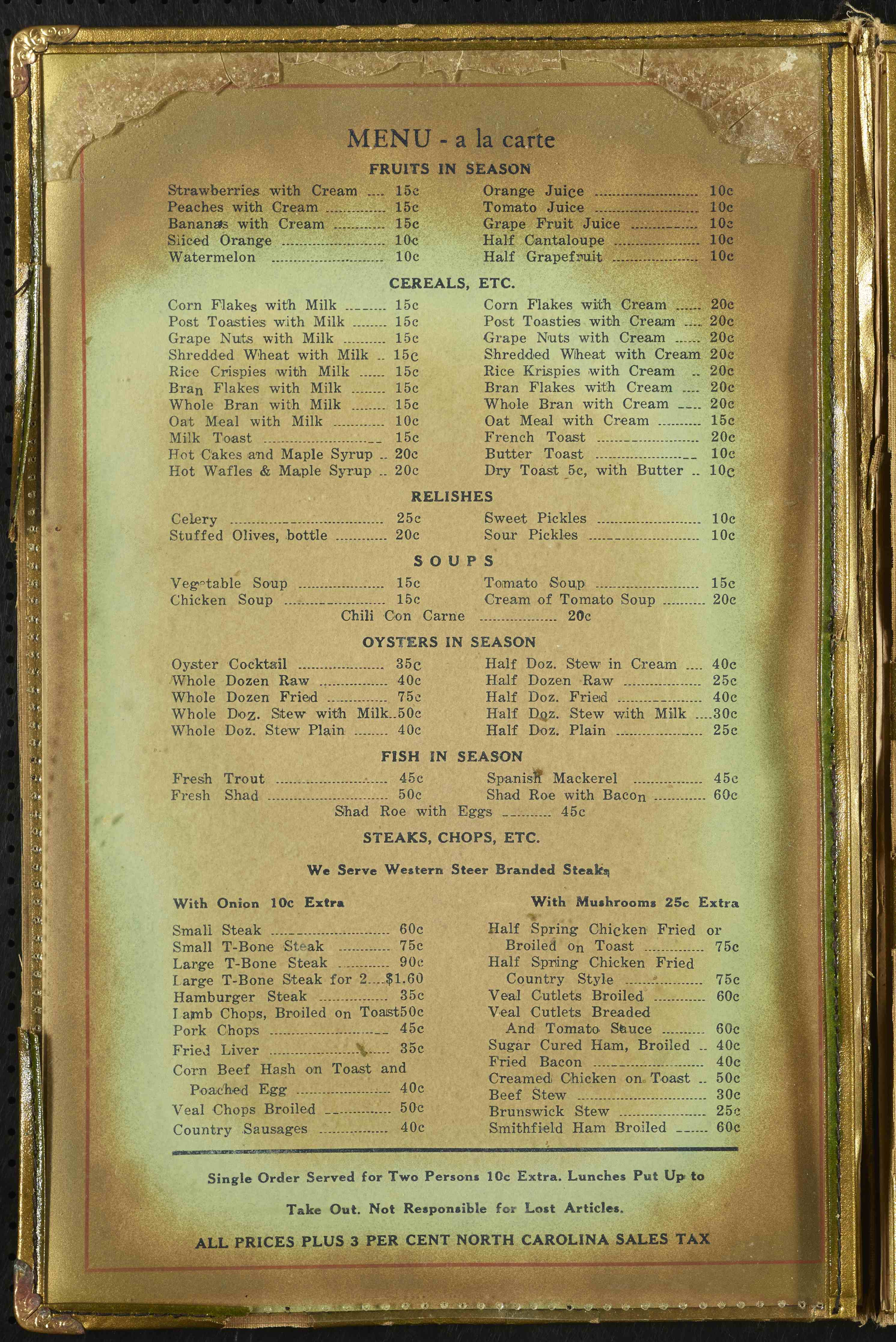 Royal Palm Restaurant Menu, page 2