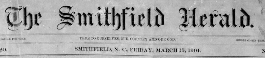 Header of the Smithfield Herald March 15, 1901 issue