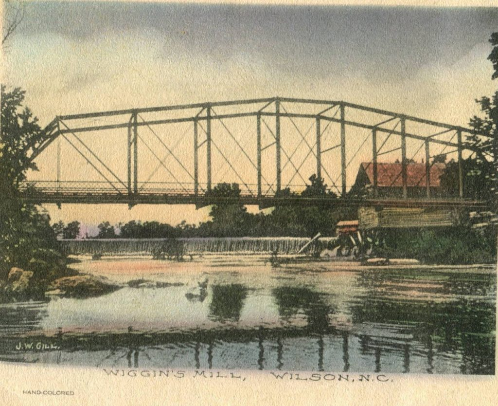 Colored postcard with bridge over river