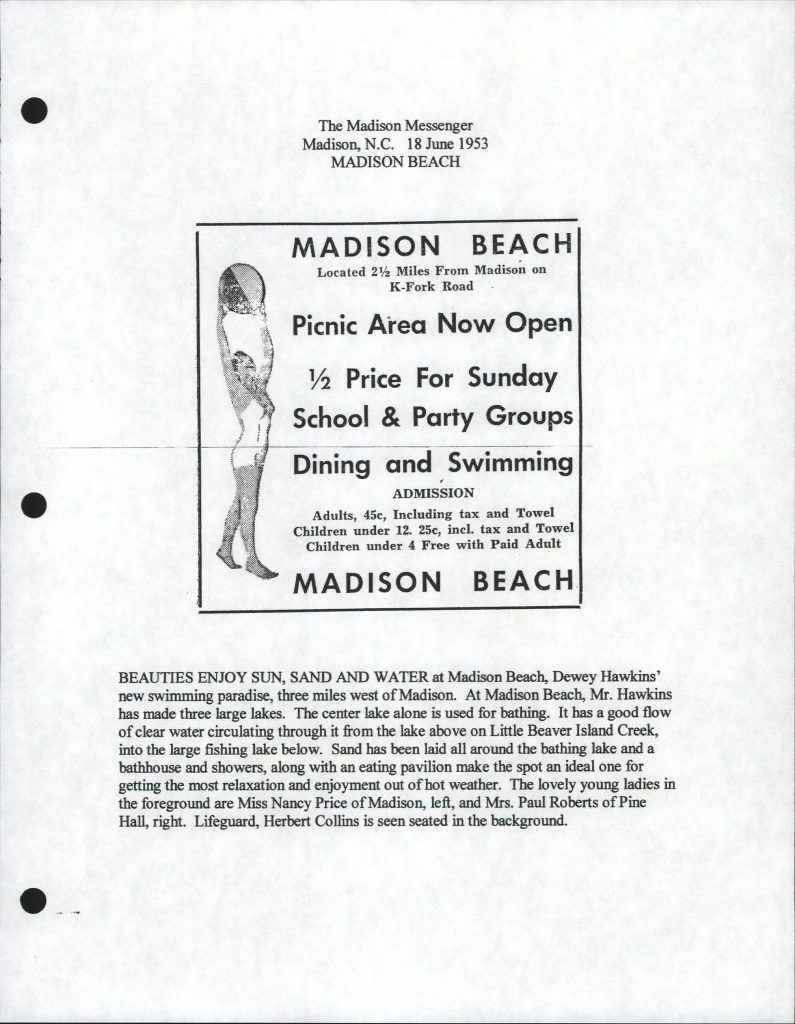 Clippings about Madison Beach from the Madison Messenger newspaper