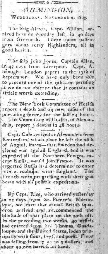 News of Wilmington in Nov 4, 1803 Cape Fear Herald