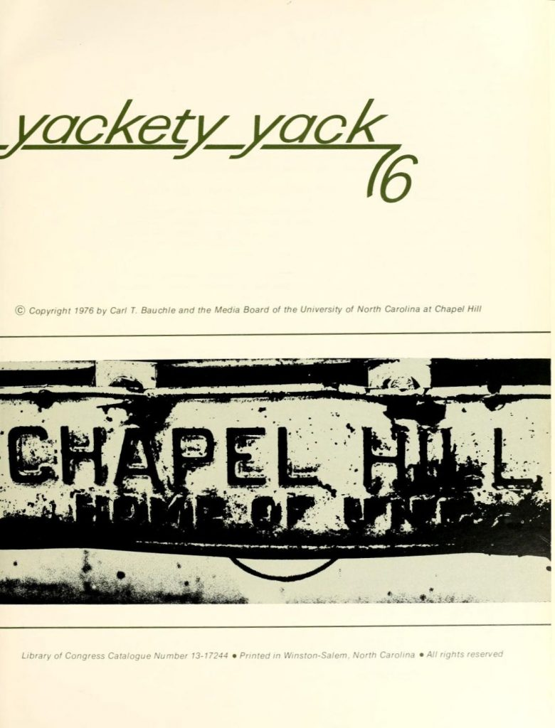 Title page of the 1976 Yack, with Chapel Hill metal plate