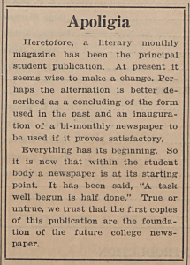 Article introducing the new Mars Hill College newspaper from September 25, 1926 issue.