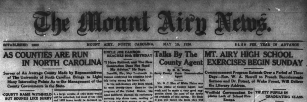 Over 600 Issues of the Mount Airy News Now Online at DigitalNC