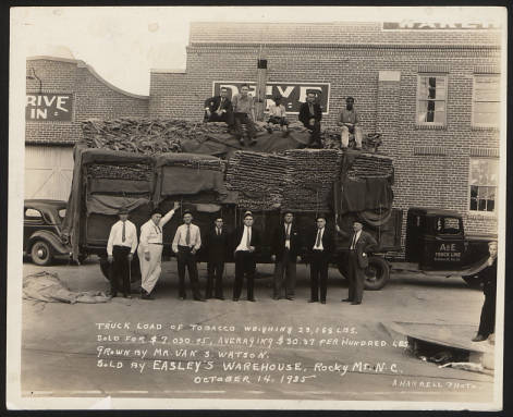 Men standing around and on top of a truck full of bags of tobacco.