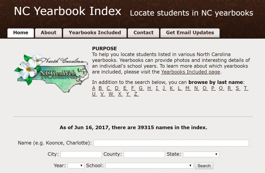 Screenshot of the home page for the yearbook index, including a description of the site and search boxes.