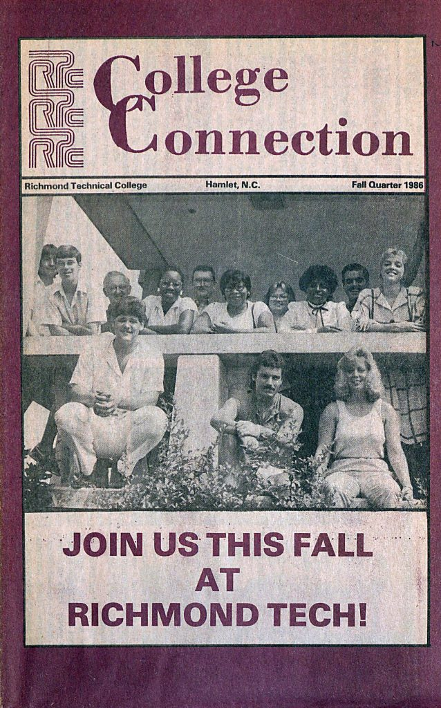 Cover shows a group of men and women in casual clothing smiling at the camera. Text: Join us this fall at Richmond Tech!