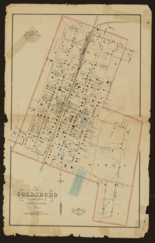 1881 map of Goldsboro, NC