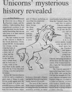 Article clipping on the mysteries of unicorns revealed.