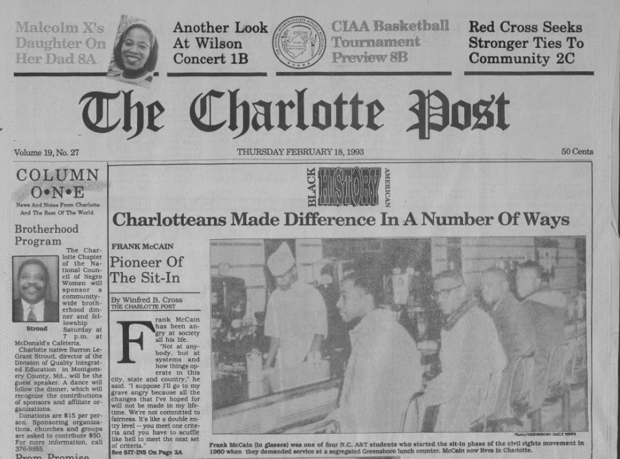 front page of the February 18, 1993 Charlotte Post