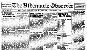Front page of the August 17, 1917 issue of the Albemarle Observer