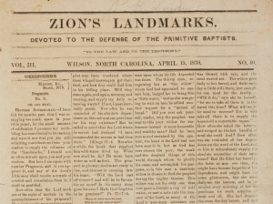 Front page of the April 15, 1870 issue of Zion's Landmarks