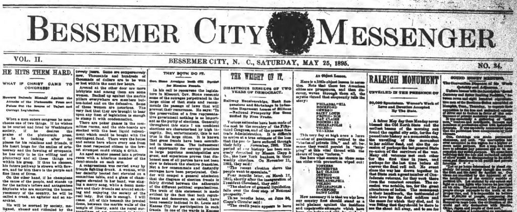 Rare issue of Bessemer City Messenger now on DigitalNC