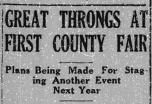 """Great Throngs at First County Fair,"" from the October 12, 1933 issue of The Transylvania Times"