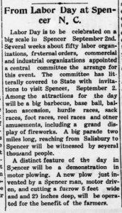 Newspaper clipping about Labor Day celebrations in 1912