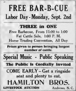 Newspaper clipping of an advertisement for a Labor Day Barbecue