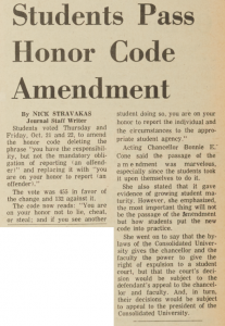 """Students Pass Honor Code Amendment,"" November 3, 1965"