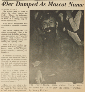 """49er Dumped As Mascot Name,"" December 14, 1966"