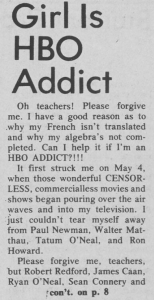 """Girl Is HBO Addict,"" May 25, 1978"