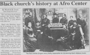 """Black church's history at Afro Center,"" September 12, 1996"
