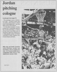 """Jordan pitching cologne,"" October 3, 1996"