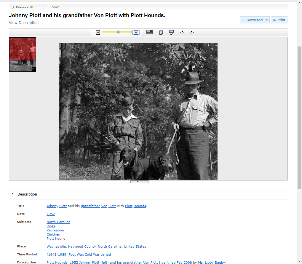 Photograph of a man and boy with two dogs, along with metadata below it.