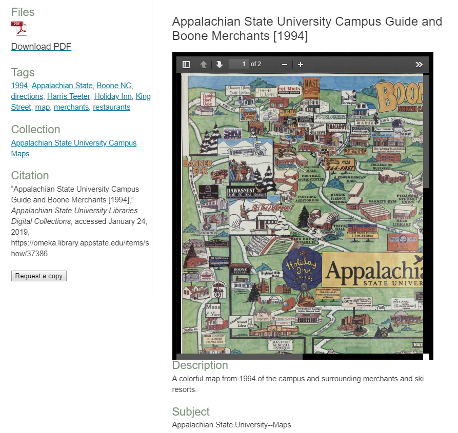 Screenshot of a colorful campus map along with metadata.