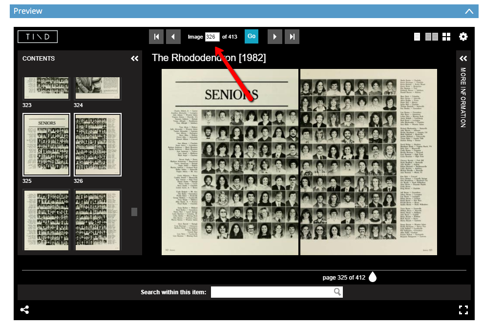 Screenshot of the Universal Viewer showing a yearbook two-page spread