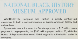 """National Black History Museum Approved,"" from the January 2004 issue"