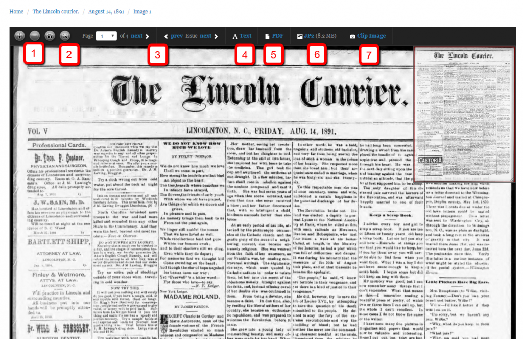 Screenshot of a newspaper in the viewer with features marked