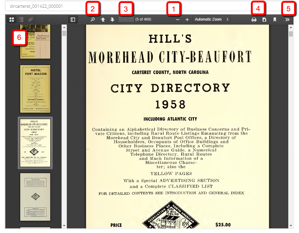 Screenshot of a City Directory with features of the viewer marked.