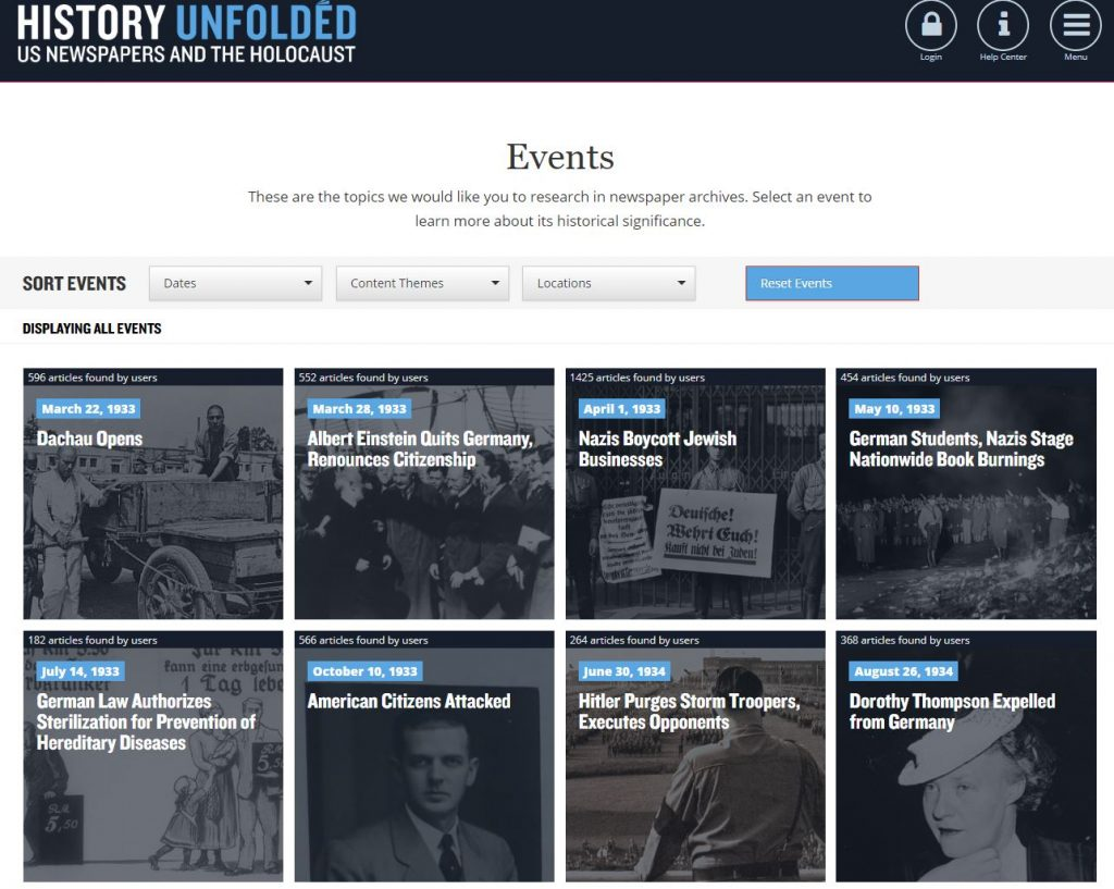 History Unfolded events page