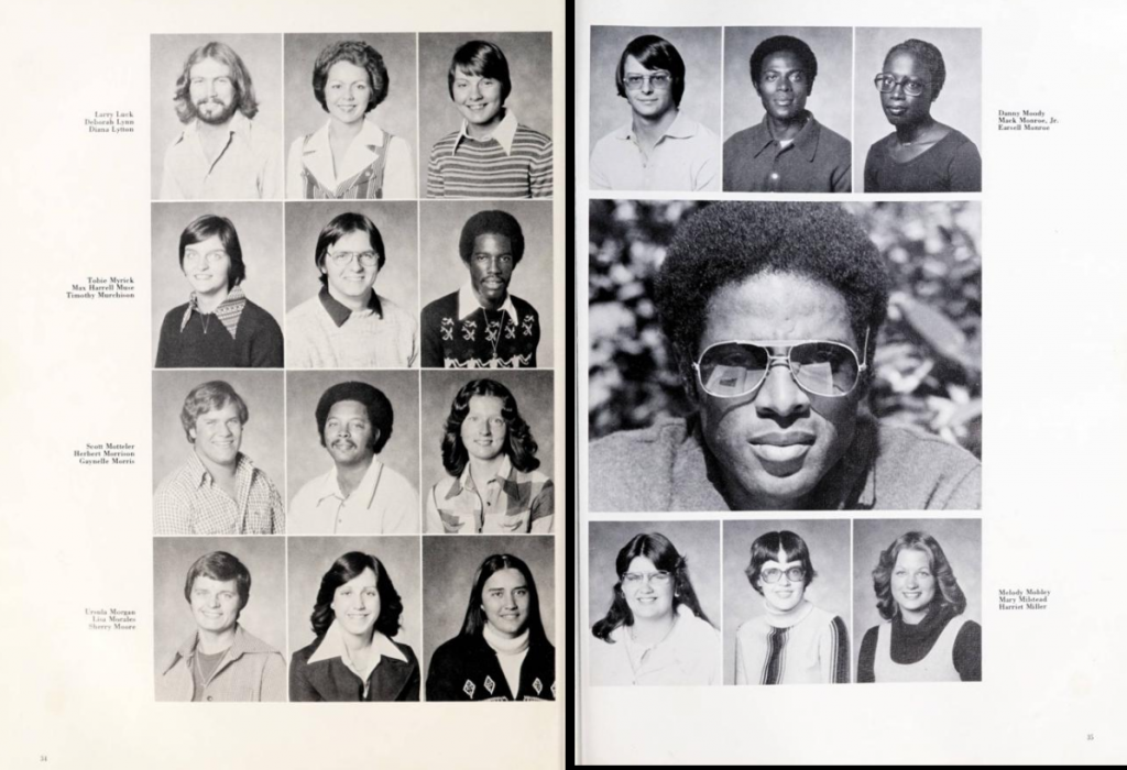 Two page yearbook spread with headshots of students and their names