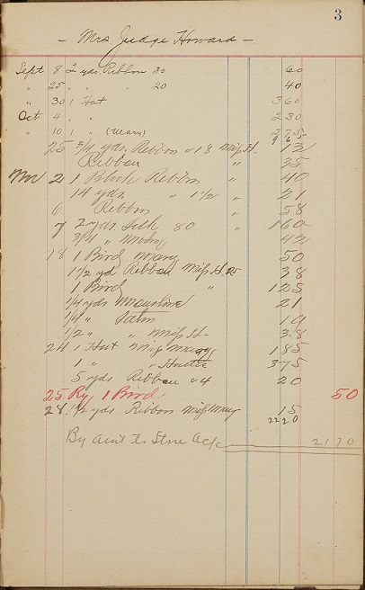 ledger page for Mrs. Judge Howard with products and prices