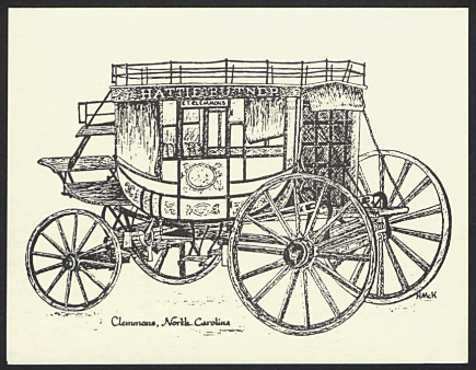 "Black and white drawing of a Hattie Butner Stagecoach, with ""clemmons, North Carolina"" beneath"