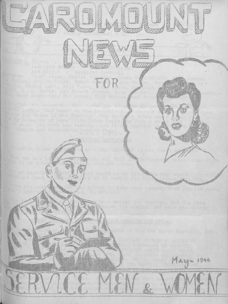 A drawing of a man in a military uniform and a woman.
