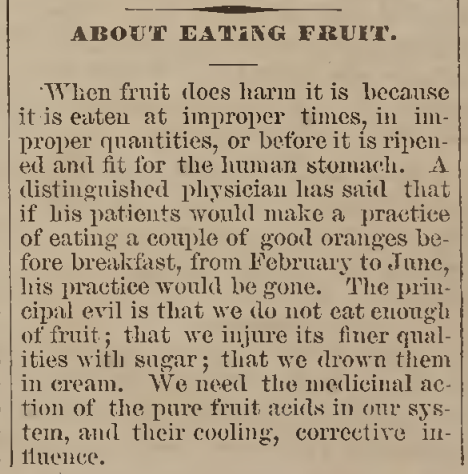 """About Eating Fruit,"" August 8, 1977"