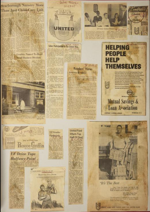 A page with newspaper clippings the United Fund scrapbook, 1966-1967