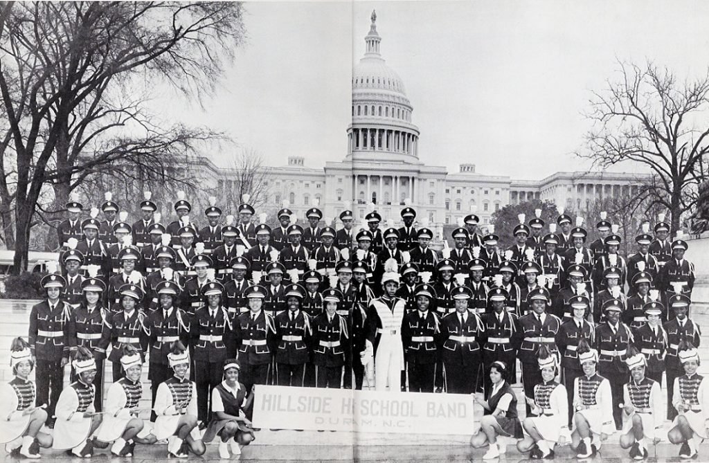 Group photo of the Hillside High School Band in front of the US Capitol