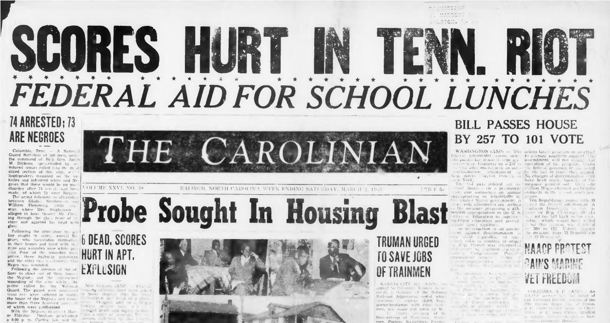 DigitalNC adds 700+ issues of Raleigh's Carolinian newspaper