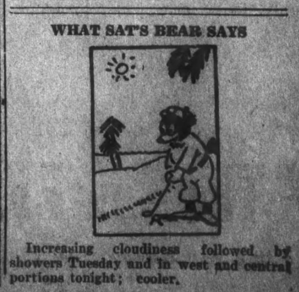 """What Sat's Bear Says,"" April 27, 1925"