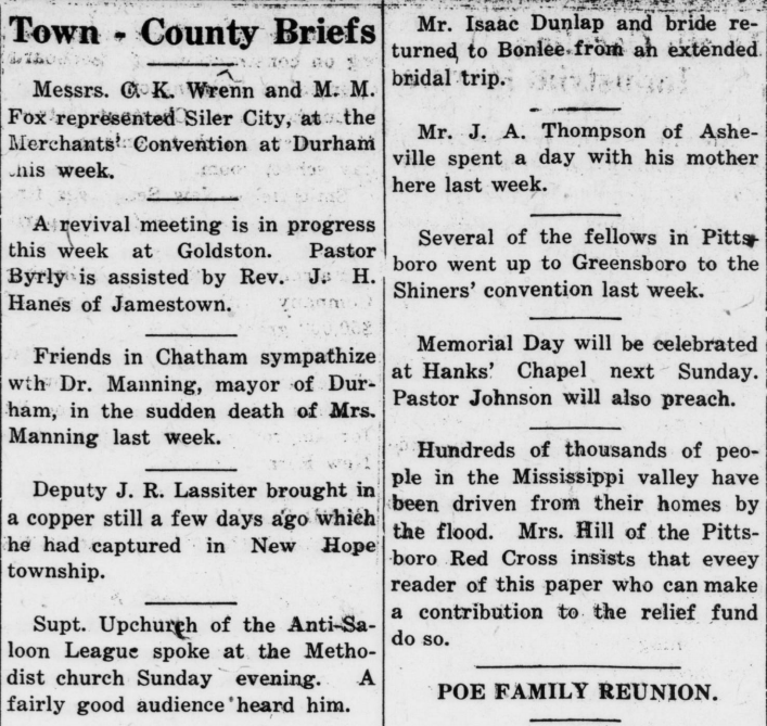"""Town - County Briefs,"" May 19, 1927"