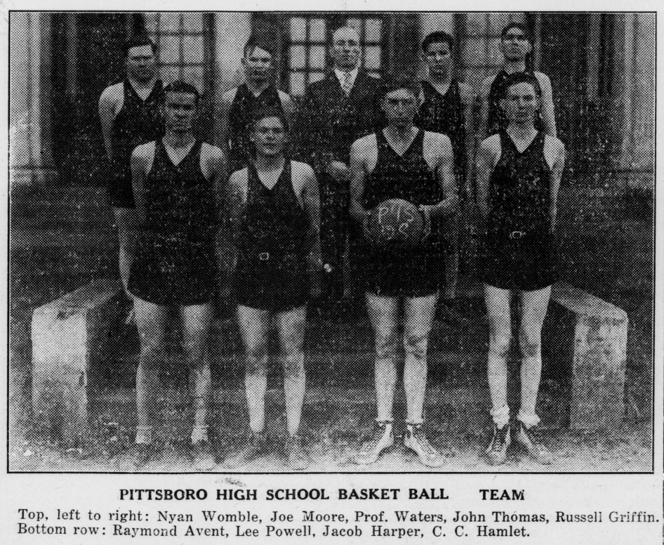 """Pittsboro High School Basket Ball Team,"" February 2, 1928"