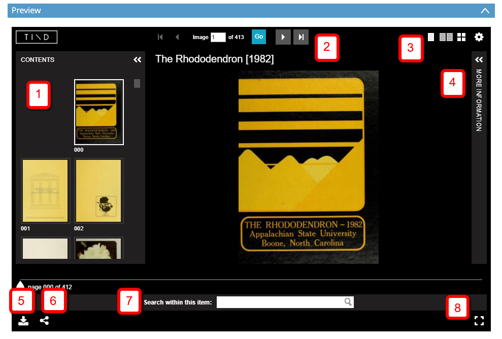 Screenshot of the Rhododendron 1982 yearbook in the TIND viewer with different numbered features