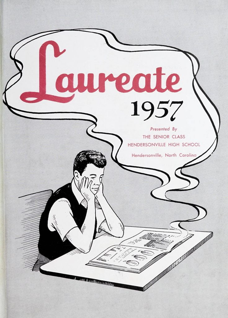"Drawing of a boy looking at a yearbook and a word bubble that says ""Laureate 1957"""